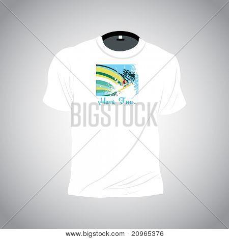 white summer tshirt isolated on grey background