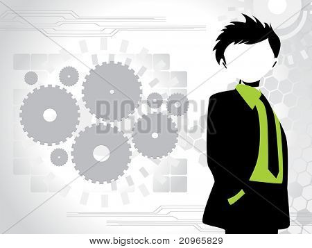 corporate background with business man, and collection of gears