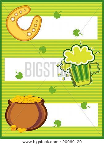 abstract green st patrick day background with beer mug, horseshoe and golden coins earthenware
