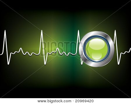 abstract green background with lifeline, vector illustration