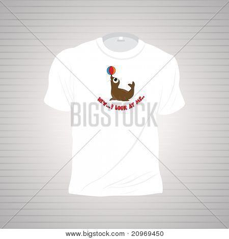 white funky tshirt isolated on grey background