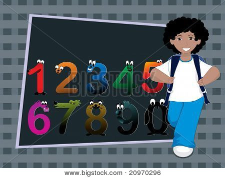 colorful funky numbers background with boy going school