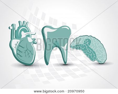abstract medical background with heart, brain, teeth