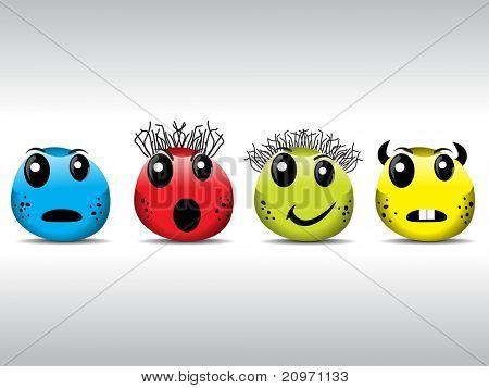 grijze achtergrond met set van vier kleurrijke bacteriën, vectorillustratie