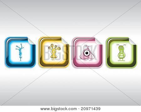 grijze achtergrond met set van vier buitenaardse sticker