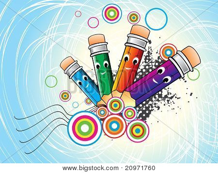 abstract grungy, colorful circle background with comic pencil