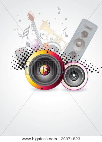 abstract background with collection of musical instruments