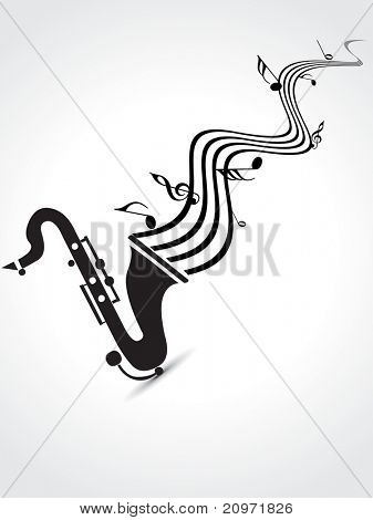 abstract grey background with isolated saxophone