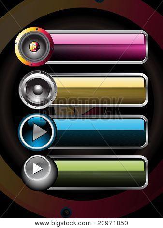 Fondo de vinilo transparente con sistema de botón de cuatro instrumentos musicales