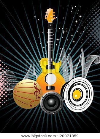 Resumen rayos punteados, onda y twinkle estrellas fondo con colección de instrumentos musicales