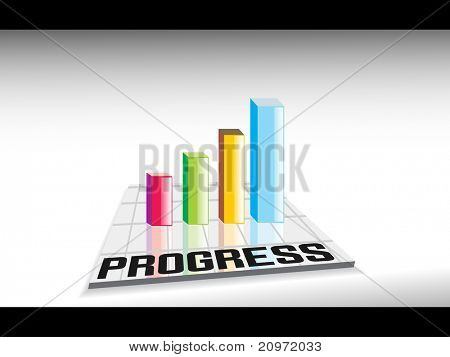 abstract colorful business growth graph background, vector illustration
