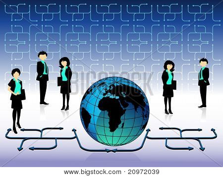 abstract business background with business people and globe, illustration