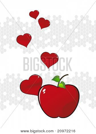 abstrakt grau Wabe Hintergrund mit frischen roten Apfel, rote Herzen