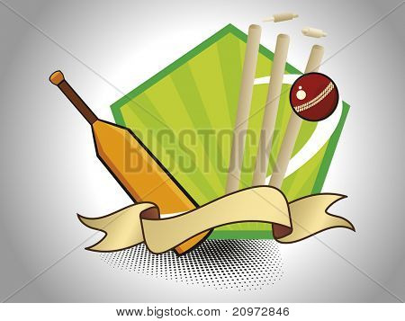 abstract dotted background with cricket supplies, vector illustration