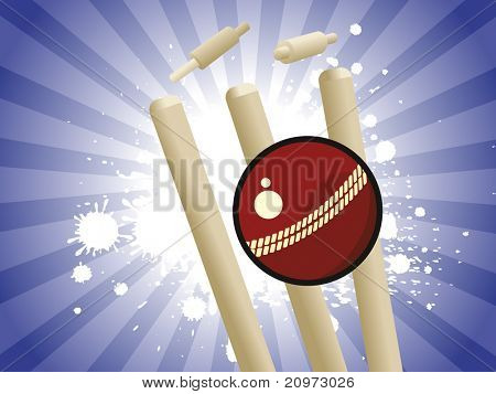 abstract grungy blue rays background with cricket element