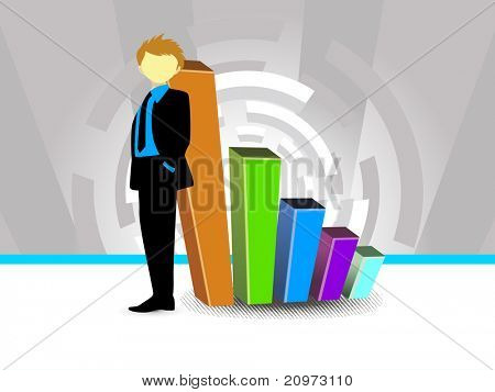 corporate background with business graph and businessman