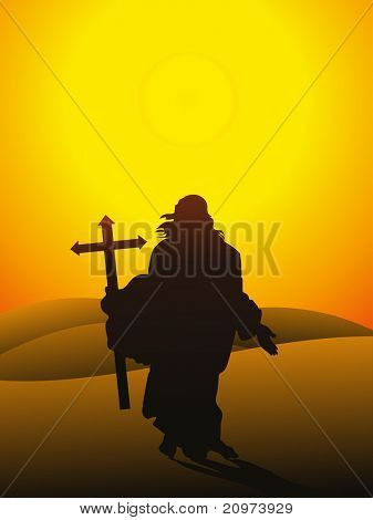 morning background with jesus christ holding cross, vector illustration