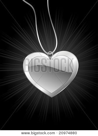 abstract black rays background with romantic heart locket ornament