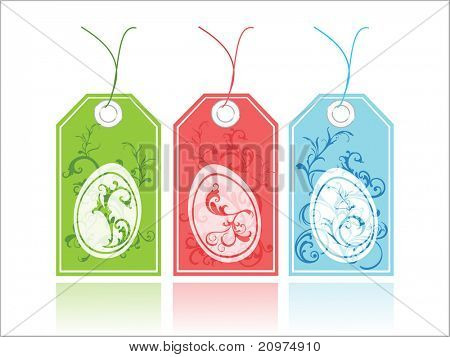 white background with set of three colorful floral decorated tag, vector illustration