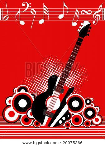 abstract circle, dotted background with guitar, musical note sheet