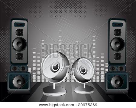 Resumen de puntos, Fondo de ecualizador musical con equipo musical