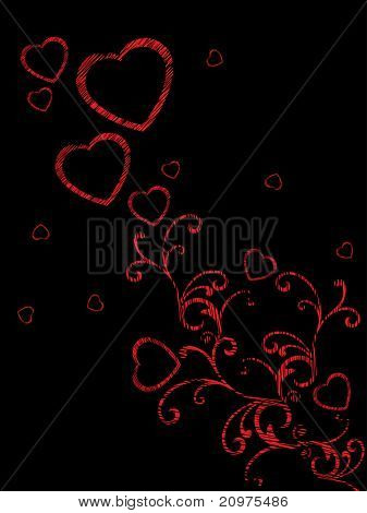 abstract black background with creative red floral, romantic heart