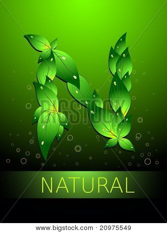 abstract green circle background with N in leaf shape