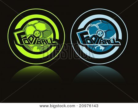 black background with set of two soccer sport icon, vector illustration