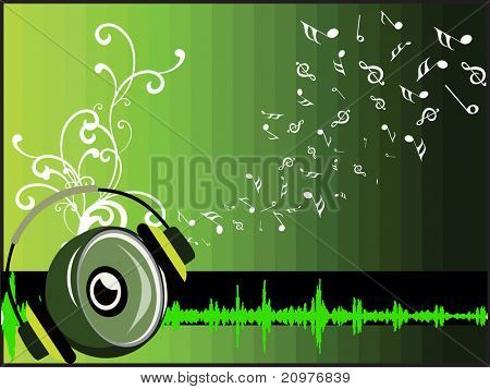 abstract green musical notes, floral background with vinyl and headphone