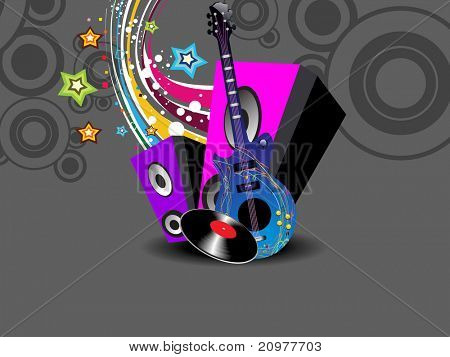abstract colorful artwork background with musical instrument