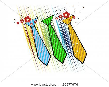 abstract background with set of three colorful tie