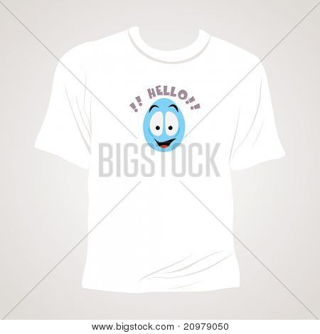 abstract grey background with isolated white comic face tshirt