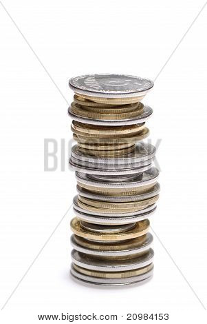 Stack Of Uah Coins Isolated On White Background
