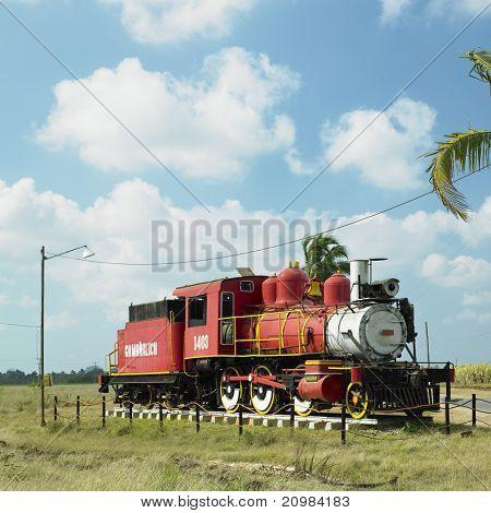 memorial of steam locomotive, Gregorio Arlee Manalich sugar factory, Cuba