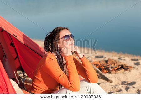 Camping Beach Woman By Campfire In Tent