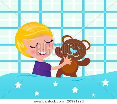 Cute Sleeping And Dreaming Boy With Teddy Bear.