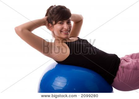 Fitness Woman Exercising By Pilates Ball