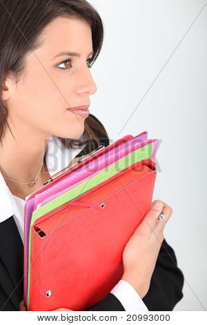 brunette with files