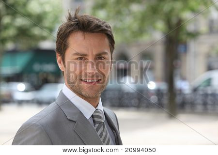 Businessman in an elegant city
