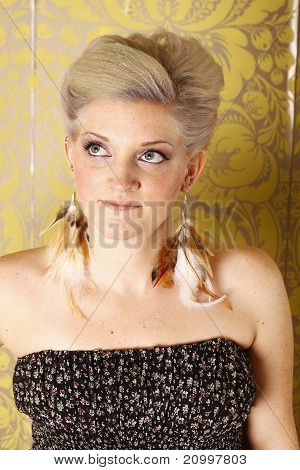 Blond woman with earings