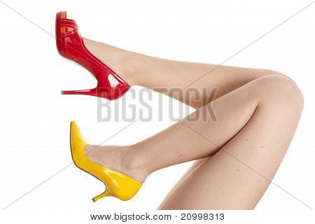 Womans Legs Red Yellow Shoes