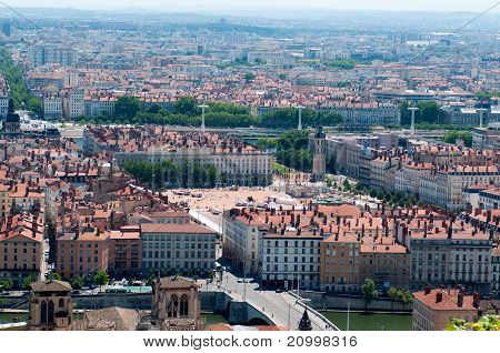 The panoramic aerial view at Lyon with Bellecour square