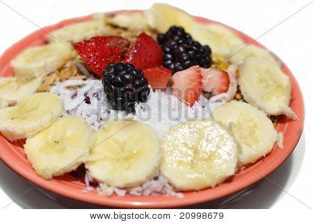 Banana, Berry, Coconut And Granola Yogurt