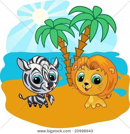 Cute lion and zebra vector cartoon  illustration