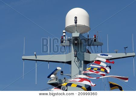 Radar And Communication Tower On A Navy Frigate