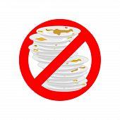 Stop Dirty Dishes. Do Not Use Dirty Dish. Prohibiting Red Ban Sign. Vector Illustration poster