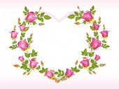 image of heart shape  - romantic pink rose design heart shape frame - JPG