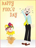 abstract fools day greeting card illustration with bat cartoon