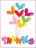 picture of thank you card  - white background with colorful balloons and thanks - JPG