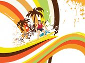 picture of scat  - grungy tropical illustration with colorful stripes background - JPG